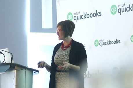 Woman teaching a QuickBooks Online Accountant session